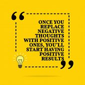 Inspirational Motivational Quote. Once You Replace Negative Thoughts With Positive Ones, Youll Star poster