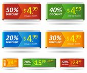 Resizable vector discount card or price tag. Easy to change size.