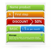 Vector colored vertical steps, pointers, price or discount tags. Easy to change color and size.