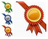 picture of rosette  - Vector corner ribbon and quality certificate  - JPG