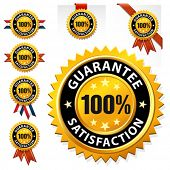 Vector 100% satisfaction guaranteed label or sign
