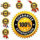 100% satisfaction guaranteed label or sign