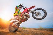 Motocross Rider Doing A Wheelie. Motorbike Sport Concept poster