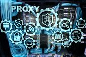 Proxy Server. Cyber Security. Concept Of Network Security On Virtual Screen. Server Room Background poster