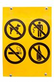 Sign No Drink No Smoke No Litter Isolated On White poster