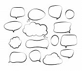 Outline Speech Bubbles. Doodle Speech Balloon Sketch Hand Drawn Scribble Bubble Talk Cloud Comic Lin poster