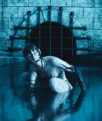 Womans Creature In Abandoned Sewer,3D Rendering poster