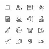 School Subject, Learning Outline Icons Set - Black Symbol On White Background. School Subject, Learn poster