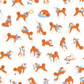 Seamless Pattern With Adorable Akita Inu Performing Daily Activities. Backdrop With Active Purebred  poster