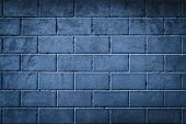 Background Of Smoothly Laid Cinder Blocks. Wall Of Bricks With Vignetting. poster
