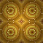 Golden Pattern On Yellow, Orange And Brown Colors With Golden Elements. Classic Vintage Background.  poster