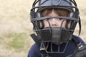 picture of little-league  - a young boy in baseball catchers mask - JPG