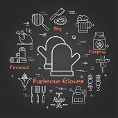 Vector Linear Round Concept Of Outdoor Barbecue And Grill. White Outline Barbecue Gloves Icon On Bla poster