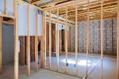 New Under Construction Home Framing Unfinished Wood Frame Building Of A Basement Residential poster
