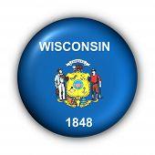 Bandeira do estado de Estados Unidos de botão redondo de Wisconsin