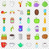 Different Beverage Icons Set. Cartoon Style Of 36 Different Beverage Icons For Web For Any Design poster