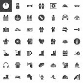 Mandatory, Safety Signs Vector Icons Set, Modern Solid Symbol Collection, Filled Style Pictogram Pac poster