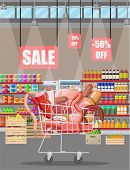 Meat Products In Supermarket Cart. Meat Store Butcher Shop Showcase Counter. Sausage Slices Product. poster
