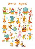 Vector Animals Abc With Cute Cartoon Animals poster