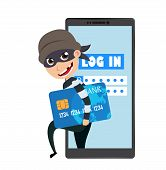 Hacker Vector Character Holding Credit Card Information Stealing Login Information And Online Data I poster