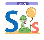 Letter S And Funny Cartoon Snake. Animals Alphabet A-z. Cute Zoo Alphabet In Vector For Kids Learnin poster