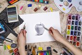 Artist Is Drawing Graphic Pencil Sketch. Workplace Of Artist Background. Top View Of Painter Tools - poster