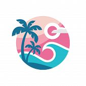 Summer Travel - Concept Business Logo Template Vector Illustration. Tropical Paradise Vacation Creat poster