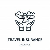 Travel Insurance Icon Isolated On White Background From Insurance Collection. Travel Insurance Icon  poster
