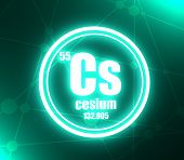 Cesium Chemical Element. Sign With Atomic Number And Atomic Weight. Chemical Element Of Periodic Tab poster