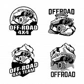 Off-road Logo Set. Off-roading Suv Adventure, Extreme Competition Emblem And Car Club Element. Beaut poster
