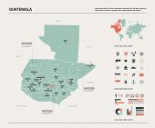 Vector Map Of Guatemala.  High Detailed Country Map With Division, Cities And Capital. Political Map poster