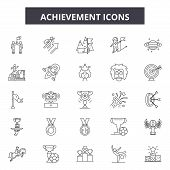 Achievement Line Icons, Signs Set, Vector. Achievement Outline Concept, Illustration: Achievement, S poster