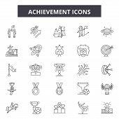 Achievement Line Icons, Signs Set, Vector. Achievement Outline Concept, Illustration: Achievement, S poster