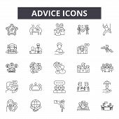 Advice Line Icons, Signs Set, Vector. Advice Outline Concept, Illustration: Advice, Internet, Inform poster