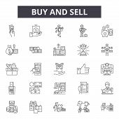 Buy And Sell Line Icons, Signs Set, Vector. Buy And Sell Outline Concept, Illustration: Buy, Busines poster