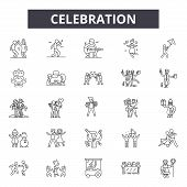 Celebration Line Icons, Signs Set, Vector. Celebration Outline Concept, Illustration: Party, Celebra poster