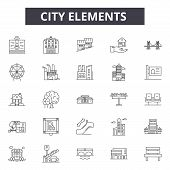 City Elements Line Icons, Signs Set, Vector. City Elements Outline Concept, Illustration: City, Dear poster