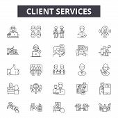 Client Services Line Icons, Signs Set, Vector. Client Services Outline Concept, Illustration: Custom poster