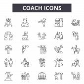 Coach System Line Icons, Signs Set, Vector. Coach System Outline Concept, Illustration: System, Mana poster