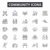 Community Line Icons, Signs Set, Vector. Community Outline Concept, Illustration: Community, People, poster