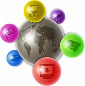 foto of world-globe  - world globe surrounded by smaller colourful spheres containing computer related icons - JPG