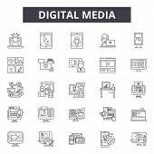 Digital Media Line Icons, Signs Set, Vector. Digital Media Outline Concept, Illustration: Internet,  poster