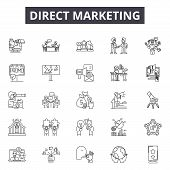 Direct Marketing Line Icons, Signs Set, Vector. Direct Marketing Outline Concept, Illustration: Mark poster