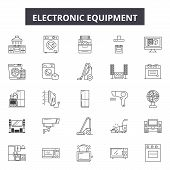 Electronic Equipment Line Icons, Signs Set, Vector. Electronic Equipment Outline Concept, Illustrati poster