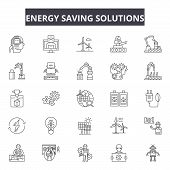 Energy Saving Solutions Line Icons, Signs Set, Vector. Energy Saving Solutions Outline Concept, Illu poster