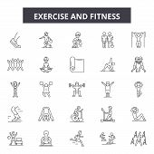 Exercise And Fitness Line Icons, Signs Set, Vector. Exercise And Fitness Outline Concept, Illustrati poster