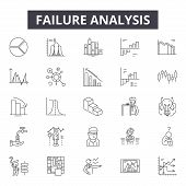 Failure Analysis Line Icons, Signs Set, Vector. Failure Analysis Outline Concept, Illustration: Anal poster