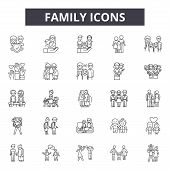 Family Line Icons, Signs Set, Vector. Family Outline Concept, Illustration: Father, Mother, People,  poster
