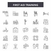 First Aid Training Line Icons, Signs Set, Vector. First Aid Training Outline Concept, Illustration:  poster