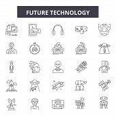 Future Technology Line Icons, Signs Set, Vector. Future Technology Outline Concept, Illustration: Te poster